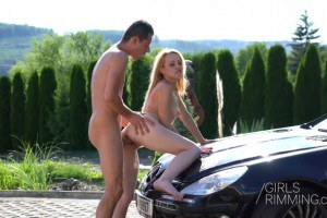 Rebecca hot blonde girl fucked on the hood of the sportscar