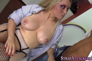 Dominatrix pegs afro american rump and jacks off bbc