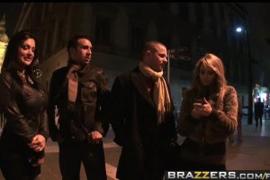 Aletta Ocean picked up and fucked by two guys in Budapest