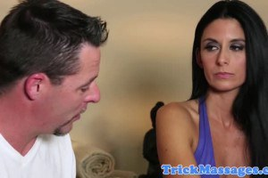 Nikki Daniels is about to suck masseur's dick at the spa