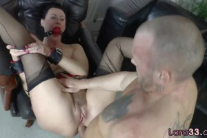 Lara Latex gets gagged and assfucked while role playing a schoolgirl