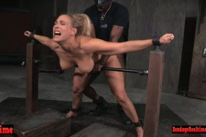 Restrained domination beauty spit roasted by maledoms