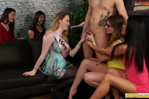 British party girls cheered when jerking off a naked stud