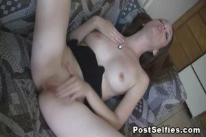 Stephanie rubbing her tight pussy for you in front of camera