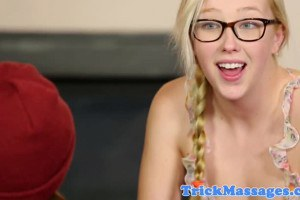 Samantha Rone sucks stepbrother's dick after tricking him to give a massage