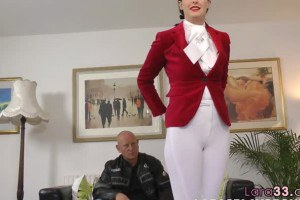 Doggystyled euro mature in uniform blows hard cock