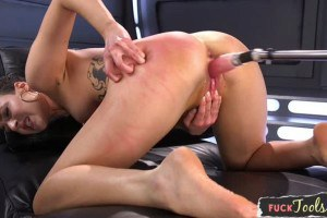 Babe gets machine fucked on all fours