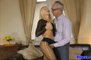Hot blonde in nylons fucks british senior