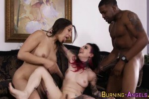 Joanna Angel and Abella Danger swap cum after sharing BBC