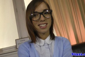Glasses teen beauty tamed by old guy's dick