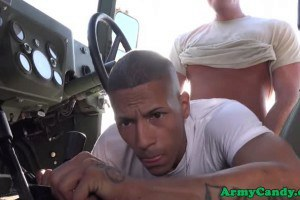 Army gays assfucking outdoors in the truck