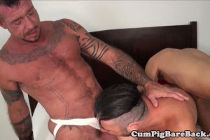 Blowing bear bareback fucked on the bed