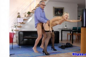 Horny blonde doggystyled by oldie