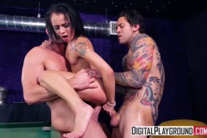 Holly Hendrix double penetrated on the pool table