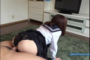 Jav schoolgirl pleasures a fat cock with her twat