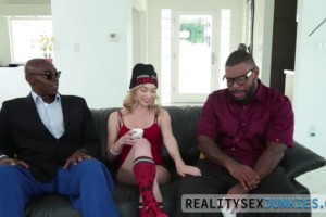 Angel Smalls gets face jizzed by two big black dicks