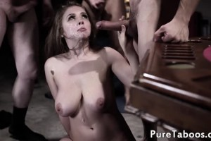 Lena Paul captured hottie gets gang banged and covered in jizz