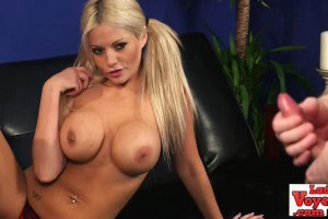 Cute pigtailed blonde with huge knockers gives JOI