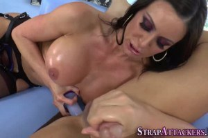 Milf domina with big tits toys loser's ass