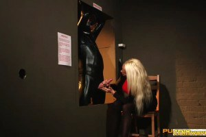 Cfnm wanks restrained sub in latex before swapping