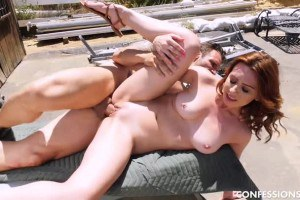 Scarlet Johnson busty petite fucks at the ranch