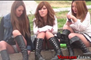 Japanese models in boots upskirt compilation