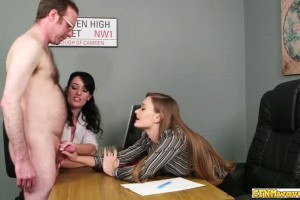 Horny office babes jerk off dick in threeway