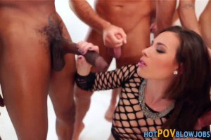 Casey Calvert gets wet and messy in interracial blowbang