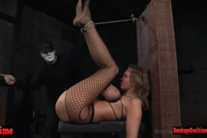 Breast bound bdsm chick squirting pussy juice