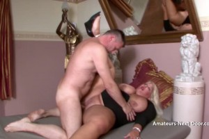 BBW blonde amateur is not shy with cock