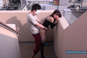 Slender Jav Teen Babe Chan Fucked On Stairs Outdoors
