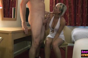 Horny amateur blonde babe sucking on cock