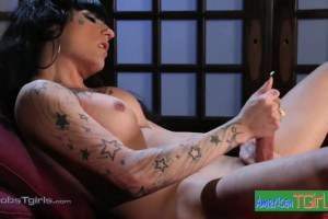 Sassy solo tgirl fondles her dick