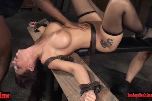 Syren De Mer throated and fucked by two doms in their dungeon