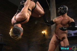 Submissive boy restrained and throatfucked
