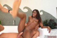 Aroused ebony diva squeezing the cum out of her ass
