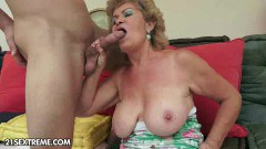 Busty old Effie in action