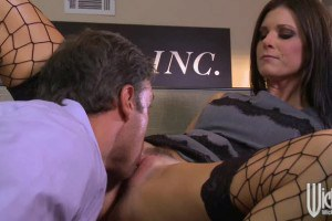 A sexy brunette in office sex