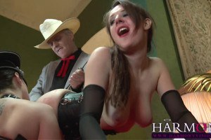 Sensual slaves Paige Turnah and Samantha Bentley sharing a cock