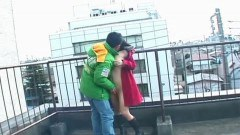 Cute asian giving a blowjob outdoors after getting fingered