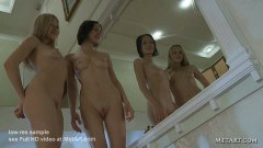 Seductive teens comparing their naked bodies