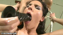 Forced to suck large dildo pleases this dominant mistress