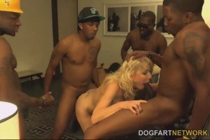 Slutty blonde milf in interracial gang bang
