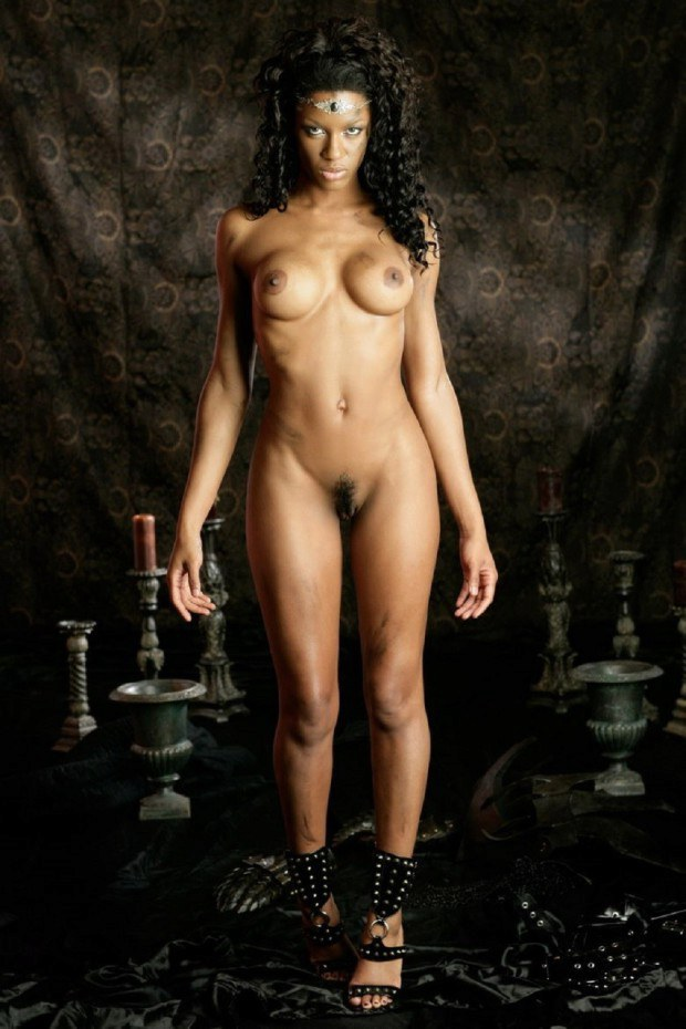Ebony model has nice tits and a hairy cunt
