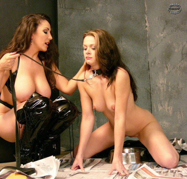 Sub pees during kinky pet play with the lezdom