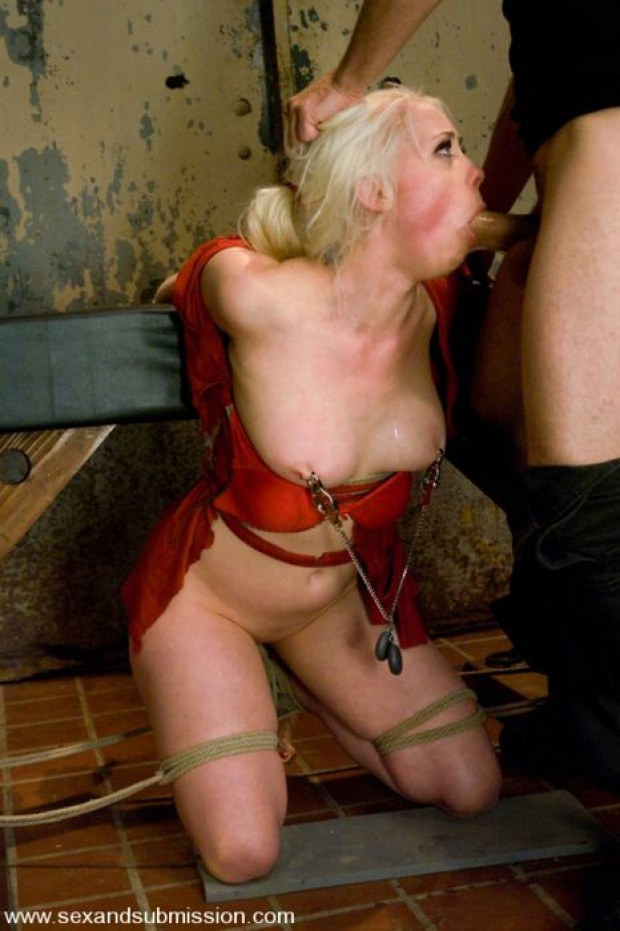 Nipple torture and deepthroating for the blonde sub