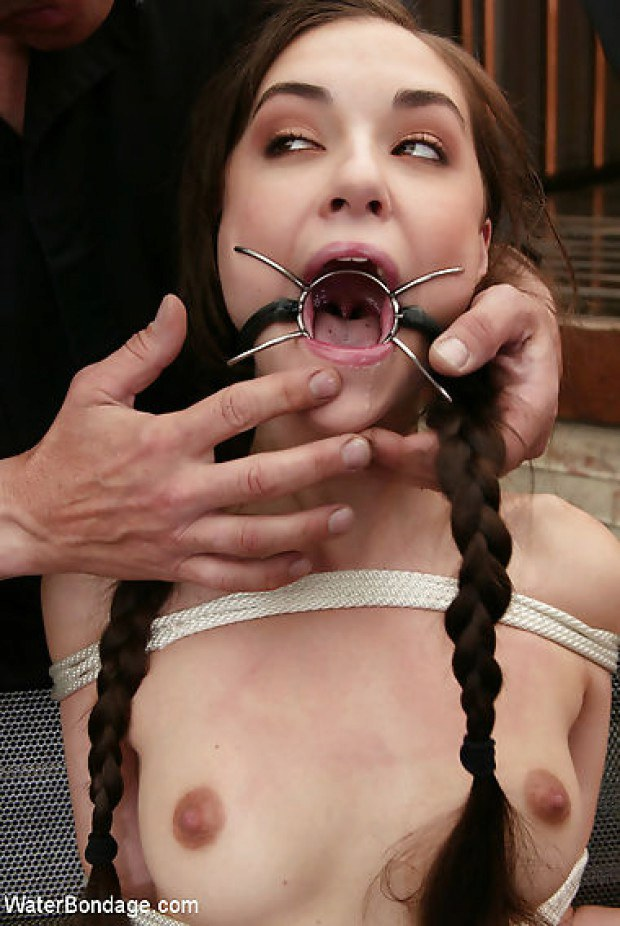 Gagged Beauty Ready To Suck Masters Dick