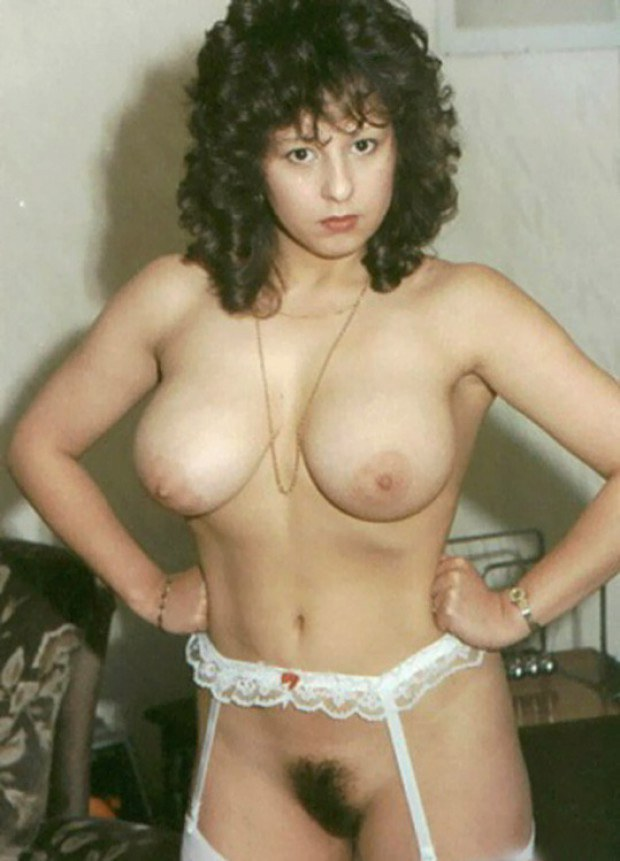 Vintage wife in stockings shows her hairy twat and big tits