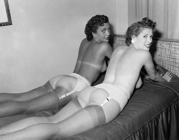 Two vintage babes teasing with their asses and stockings