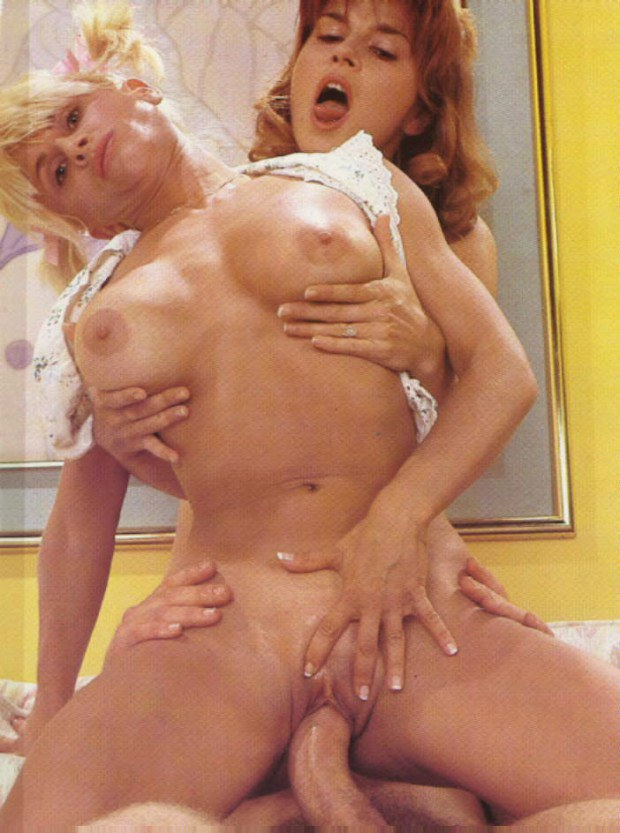 Two cougars ride a vintage cock